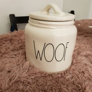 Rae dunn pets treat jar. Says Whoof super cute.